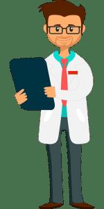 Dessin d'un médecin souriant tenant une plaquette de consultation